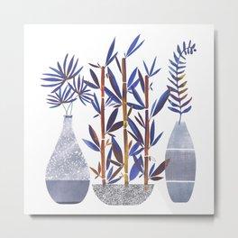 Indigo Flora Trio / Tropical Plant Illustration Metal Print