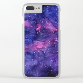 Galaxy Pattern Watercolor Clear iPhone Case