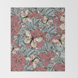 Classic vintage styled pattern with leafs and flowers Throw Blanket