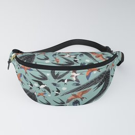 Swallows Martins and Swift pattern Turquoise Fanny Pack