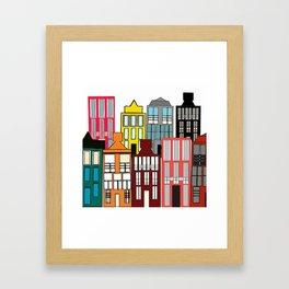Colored houses vector Framed Art Print