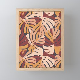 Color Block Monstera Leaves in Maroon Framed Mini Art Print