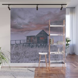 Landscape Cabin on ice lac Wall Mural