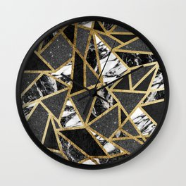 Modern Faux Gold Glitter Marble Geometric Triangle Wall Clock