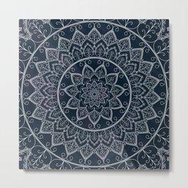 Blue Textured Lace Mandala Metal Print