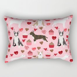 Bull Terrier valentines day cupcakes hearts love mixed coat bull terriers lovers dog breed gifts Rectangular Pillow