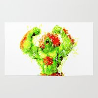street fighter Area & Throw Rugs featuring Street Fighter II - Blanka by Carlo Spaziani