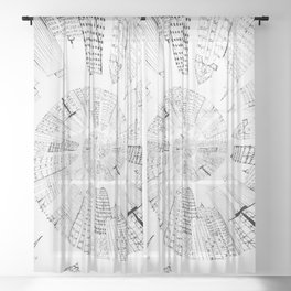 black and white city spiral digital painting Sheer Curtain