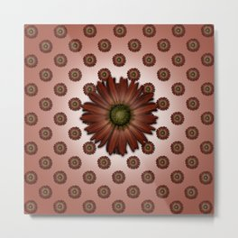 """Big Red Daisy, (pattern)"" Metal Print"
