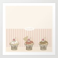 cupcakes Art Prints featuring Cupcakes by Cecilia Sánchez