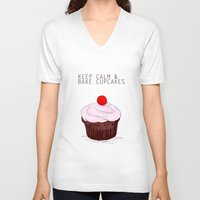 keep calm V-neck T-shirts featuring keep calm by techjulie