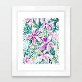 PLUMERIA PARADISE Tropical Floral Framed Art Print