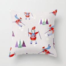 Snow Penguins Throw Pillow