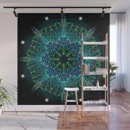 Kaleidoscope fantasy on lighted peacock shape Wall Mural