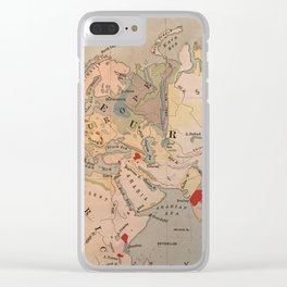 Europe, Africa, India vintage map 1800s Clear iPhone Case