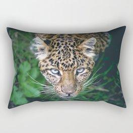 Splendid Beautiful Jungle Leopard Staring Head Profile Close Up Ultra HD Rectangular Pillow