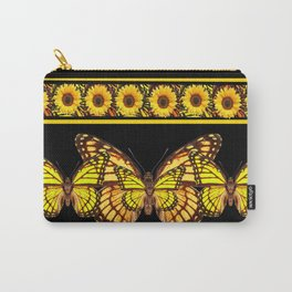 YELLOW MONARCH BUTTERFLIES & SUNFLOWERS BLACK ART Carry-All Pouch