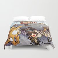 attack on titan Duvet Covers featuring Attack on Kitten - Attack on Titan by Cute-Loot