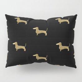 Dachshund Dog Gold Glitter Pattern Pillow Sham