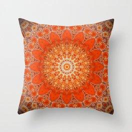 Detailed Orange Boho Mandala Throw Pillow