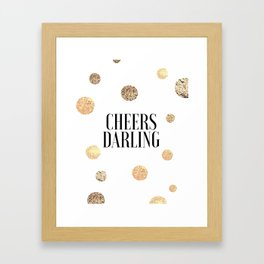 CHEERS DARLING GIFT, Wedding Quote,Anniversary Print,Gold Confetti,Cheers Sign,Champagne Quote,Celeb Framed Art Print