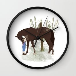 A girl and her horse Wall Clock