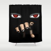 naruto Shower Curtains featuring Naruto / Itachi Sharingan  by ThreeBoys