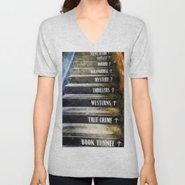Love of Books, Novels, and Bookstore portrait painting Unisex V-Neck