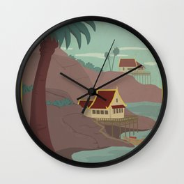 Ember Island Travel Poster Wall Clock