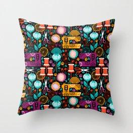 Garden of Sewing Supplies - Black Throw Pillow