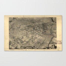 Vintage Pictorial Map of Santa Barbara CA (1896) Canvas Print