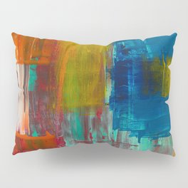 RED YELLOW BLUE AND WHITE ABSTRACT PAINTING Pillow Sham