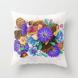 CANDY & FLOWERS Throw Pillow