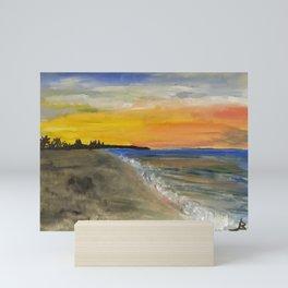 Sunset at the beach watercolor Mini Art Print
