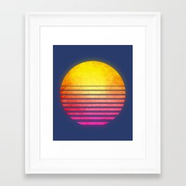 Vintage Retro 80's Synthwave Sun Framed Art Print
