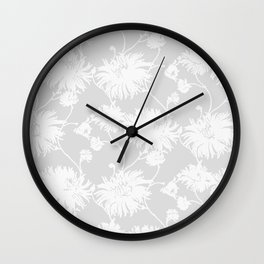 White Floral Poms Wall Clock