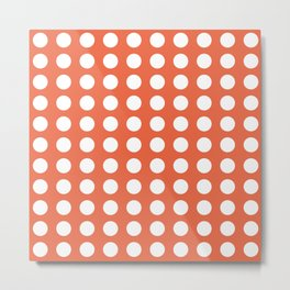 Dot Grid Minimalist Pattern in White and Burnt Orange Metal Print
