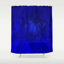 Royal Blue Fractal dahlia Shower Curtain