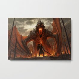 digital warrior dragon fire giant Stefan Koidl low-angle Metal Print
