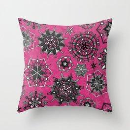 mandala snowflakes pink Throw Pillow