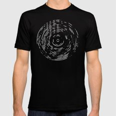 Record White on Black X-LARGE Mens Fitted Tee Black