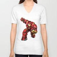 iron man V-neck T-shirts featuring IRON MAN IRON MAN by Smart Friend