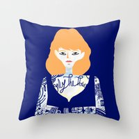 tatoo Throw Pillows featuring Rehead with tatoo 01 by JulienB