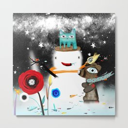 Aurora Australis Christmas Whimsical Stars Metal Print