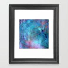 Blue tornado with fairy lights Framed Art Print