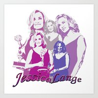 jessica lange Art Prints featuring Jessica Lange - Emmys 2014 by BeeJL