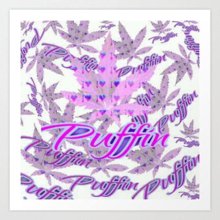 I Love Puffin remix Art Print