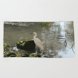 White Egret Beach Towel
