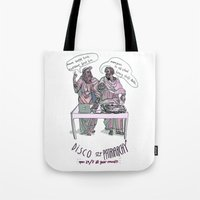 patriarchy Tote Bags featuring Disco of Patriarchy by Olivia Ekelund