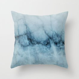 Blue marble abstraction Throw Pillow